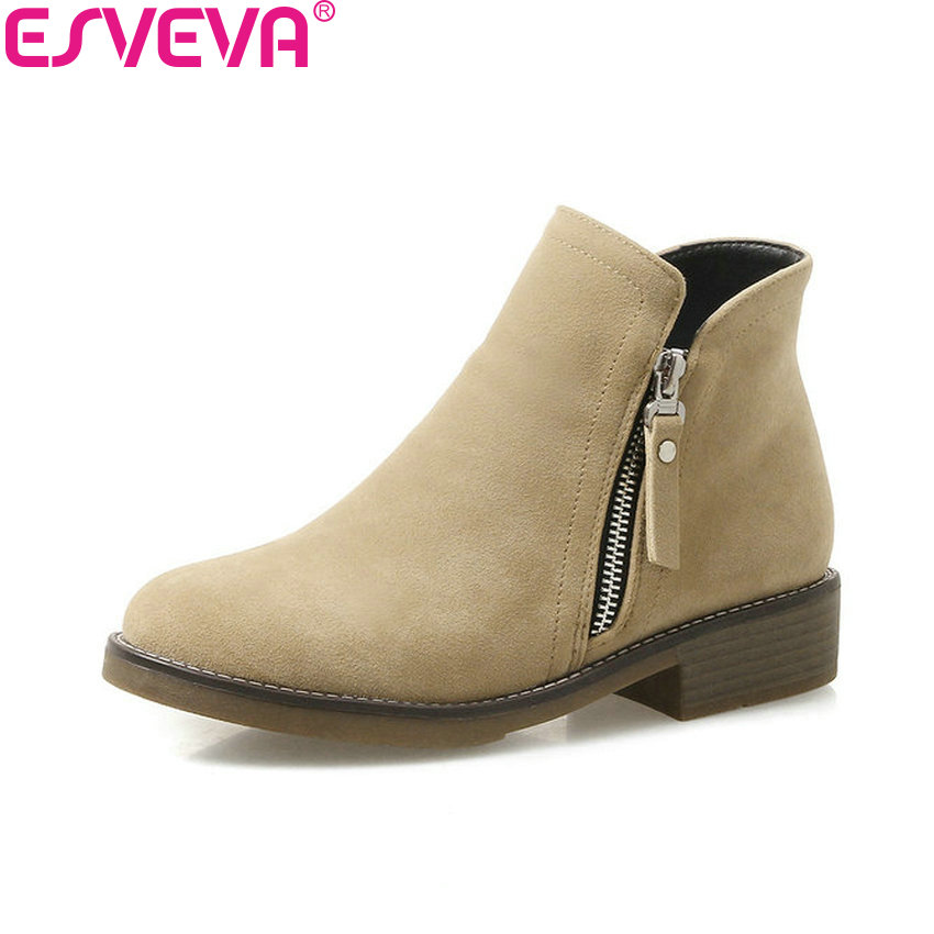ESVEVA 2018 Women Boots Scrub PU Western Square Heels Ankle Boots Med Heels Khaki Round Toe Black Solid Ladies Boots Size 34-43 new arrival 34 40 2016 winter ankle boots for women med heels round toe platform solid casual ladies unique boots