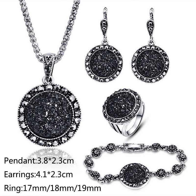 אופנה 1 סט שחור מעגל זירקון שרף עגול אבן עגיל לבן קריסטל תכשיטי סט צמיד שרשרת עגול חתונה טבעת