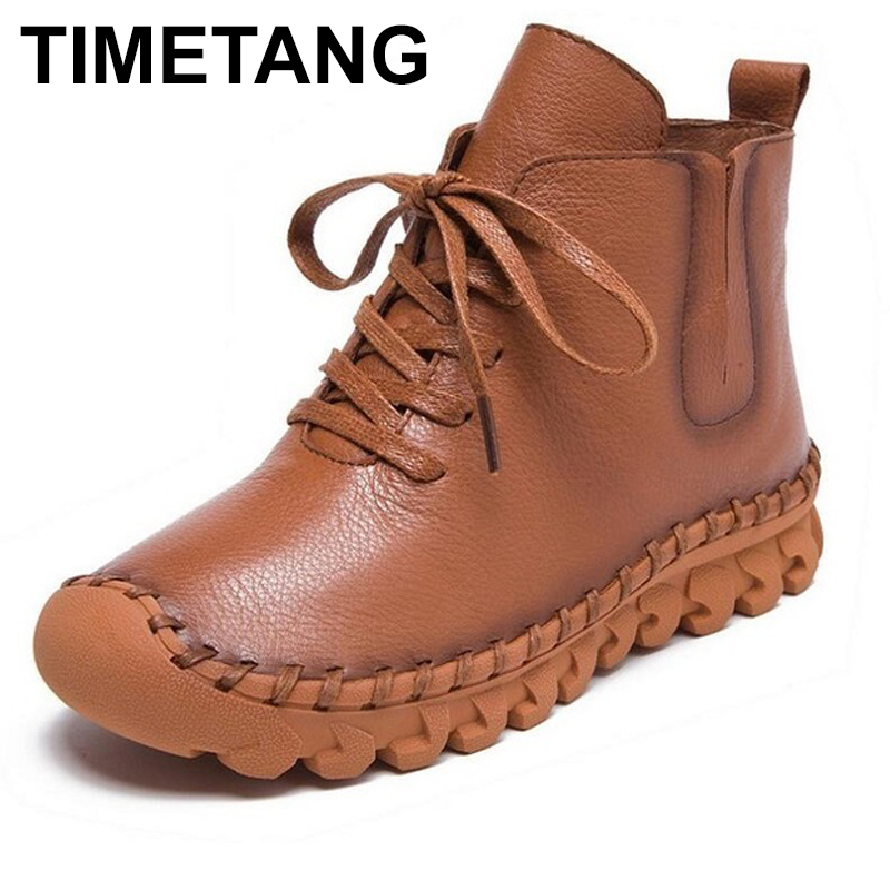 TIMETANG Fashion Women Autumn Winter Shoes Genuine Leather Ankle Boots Handmade Full Grain Leather Flat Boots For Women Shoes 7 colors genuine leather women ankle boots vintage soft outsole shoes handmade full grain leather boots for women flat shoes