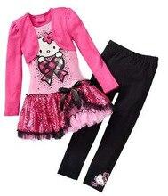 Розничная 2015 Детская Одежда Устанавливает Мода Осень 2 шт. Устанавливает Юбка Костюм Hello Kitty Младенца Платья Одежда Устанавливает Рубашка + брюки