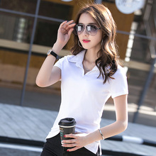 Women Shirts Cotton Polos  Fashion Slim  Lapel Short Sleeve 4 Colors Drop Shipping