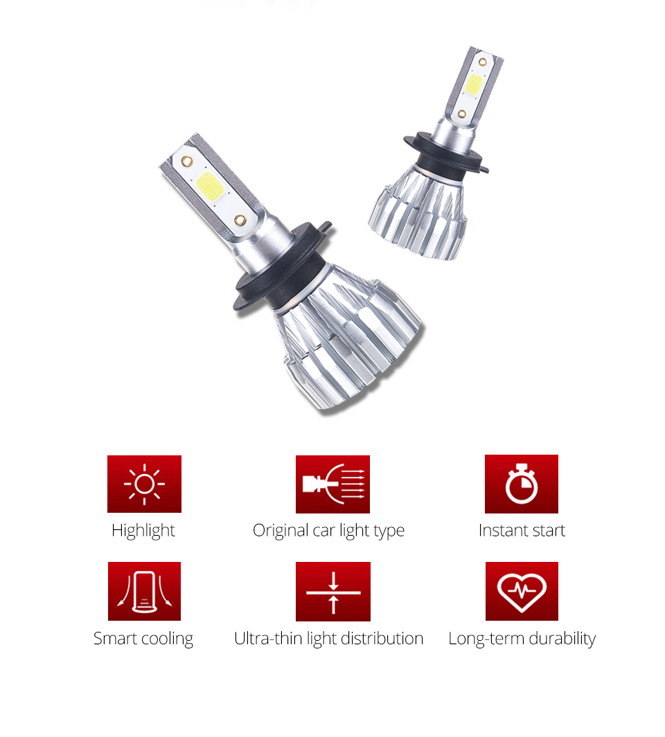 Foxcncar H7 LED H1 H3 H11 H4 Led H7 Bulb Car Headlight High Low Beam 72W 8000LM 12V 24V Fog Light 4300K 6500k 9005 9006 Fanless (2)