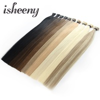 Isheeny 24 1g/s Remy Keratin Bond Stick I Tip Hair Extensions Black Brown Blonde 50 pieces Straight Hair On Capsule DHL Free