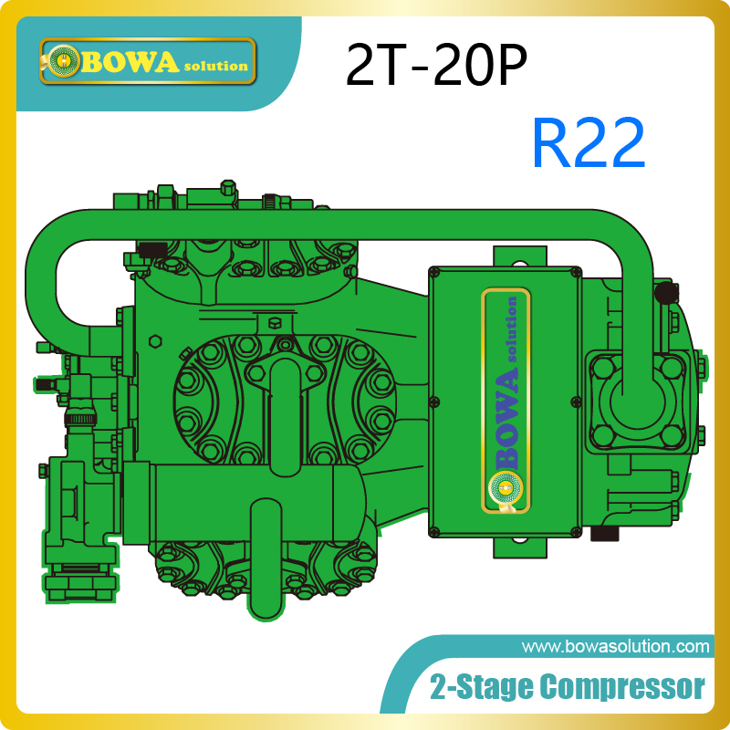 20HP 2-stage compressor direct suction/optional liquid subcooling increase the cooling capacity and system efficiency 520w cooling capacity fridge compressor r134a suitable for supermaket cooling equipment
