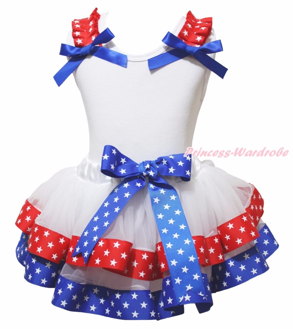 4th July USA Heart Patriotic Dog White Top Stars Red Blue Ribbon Trim Skirt Girls NB-8Y 4th july america usa heart girls royal blue top bling sequins baby skirt 3 12m