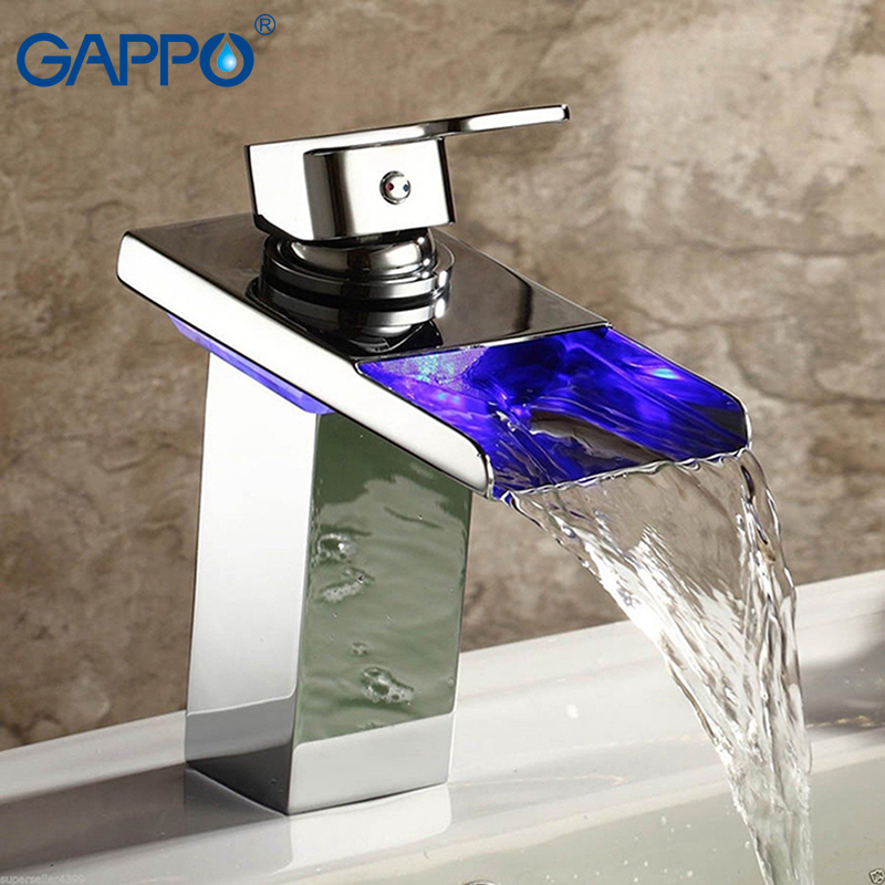 GAPPO basin faucets bathroom sink faucet chrome waterfall spout led light faucet taps water taps mixer vanity vessel