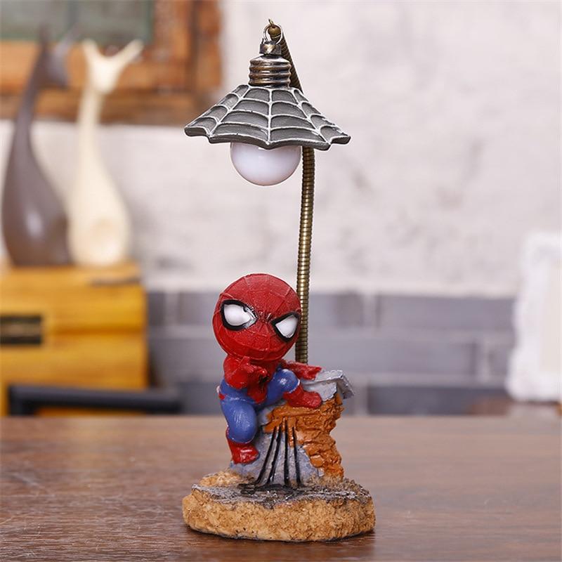 Cartoon Avengers Action Figures Spider Man Night Lamp Resin Children Bedroom LED Night Light for Boy Kids Xmas Creative Gift (13)