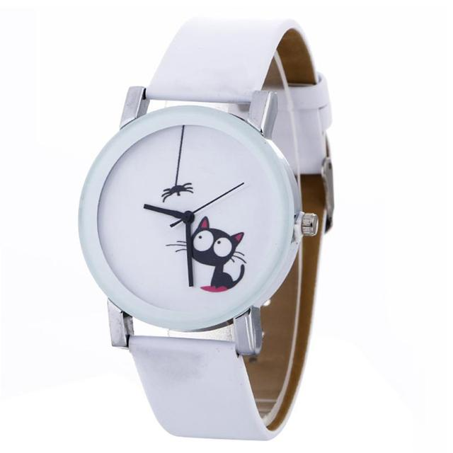Casual Women Watches Reloj Mujer Fashion Black Cute Cat Leather Band Quartz Wris