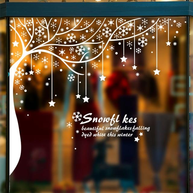 [SHIJUEHEZI] Winter Schnee Fenster Aufkleber Vinyl DIY Wandtattoos Für  Wohnzimmer Kinderzimmer Weihnachten Festival Dekoration