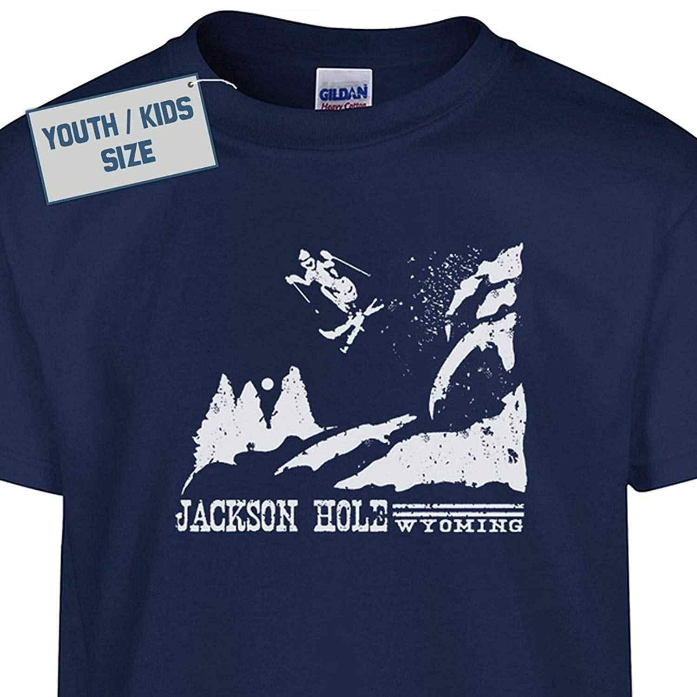 45bb6c2844 ... Youth Skier Jackson Hole Wyoming T Shirt Funny Kids T Shirt Vintage Ski  T Shirt Girls ...