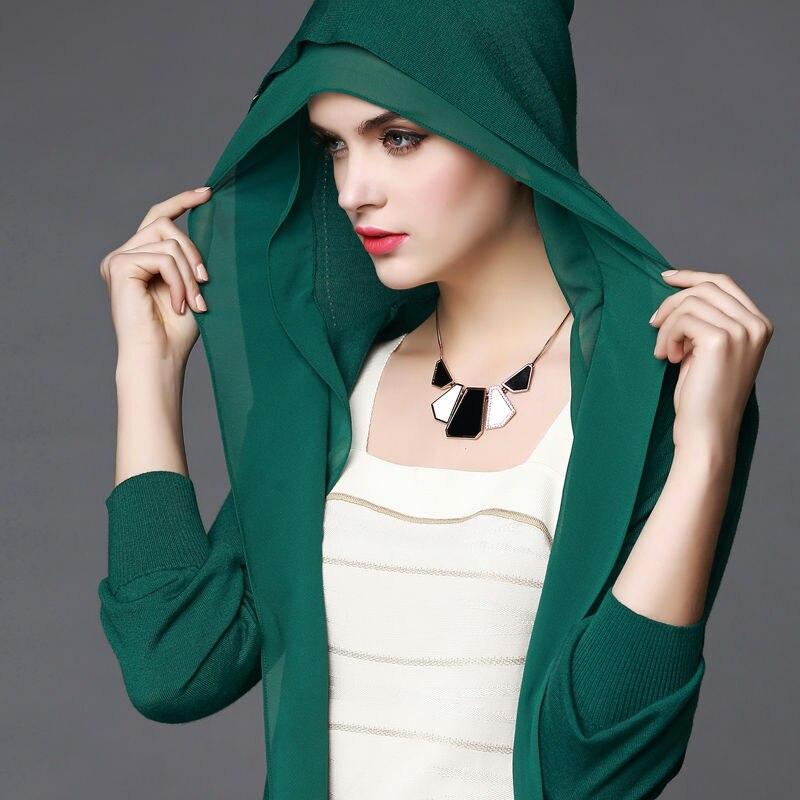 100%MERINO WOOL women long sleeves solid knit HOODED CARDIGANS chiffon trim office lady sweater Fall Winter new W004