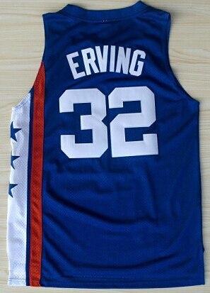 זול Mens #6 ג 'וליוס ארווינג גופיות כדורסל כחול לבן אדום #32 ג' וליוס ארווינג מכללת ג 'רזי חולצת ספורט