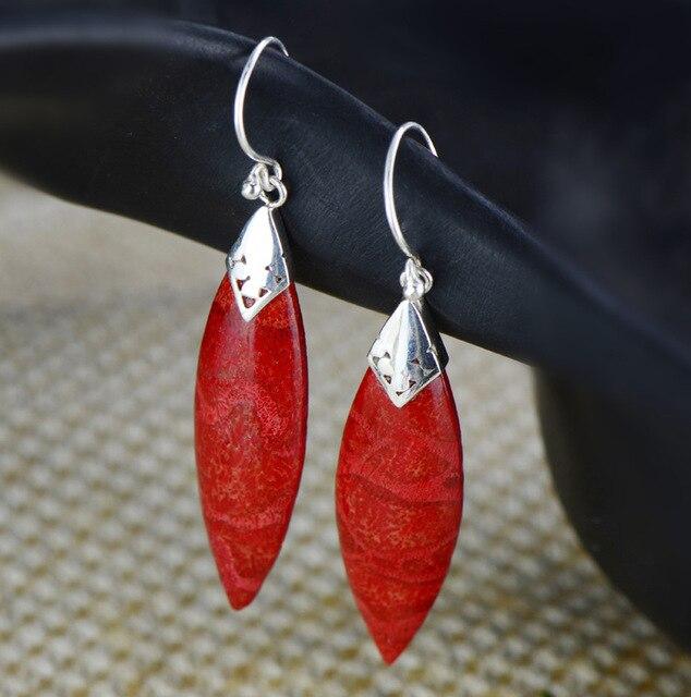 Народная стиль моды Китайский красный стерлингового серебра 925 инкрустация трава коралловые серьги серьги длинные воздуха личности Г-Жа