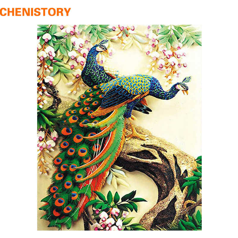 CHENISTORY Peacock DIY Oil Painting By Numbers Kits Acrylic Paint On Canvas Home Decor For Unique Gift Wall Art Picture Artwork