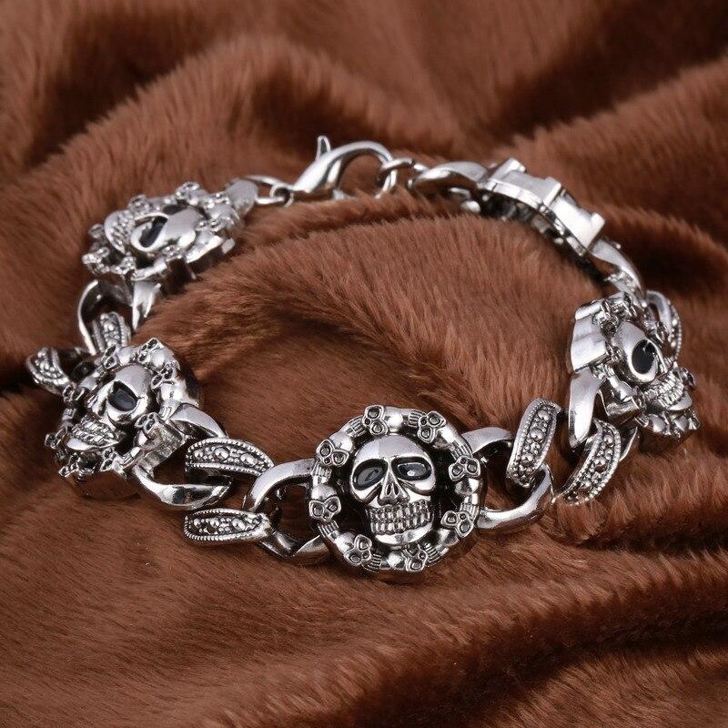 Pulsera gótica del encanto del cráneo brazalete de los hombres al por mayor Pulsera de acero inoxidable masculina Pulsera hecha a mano Bijoux