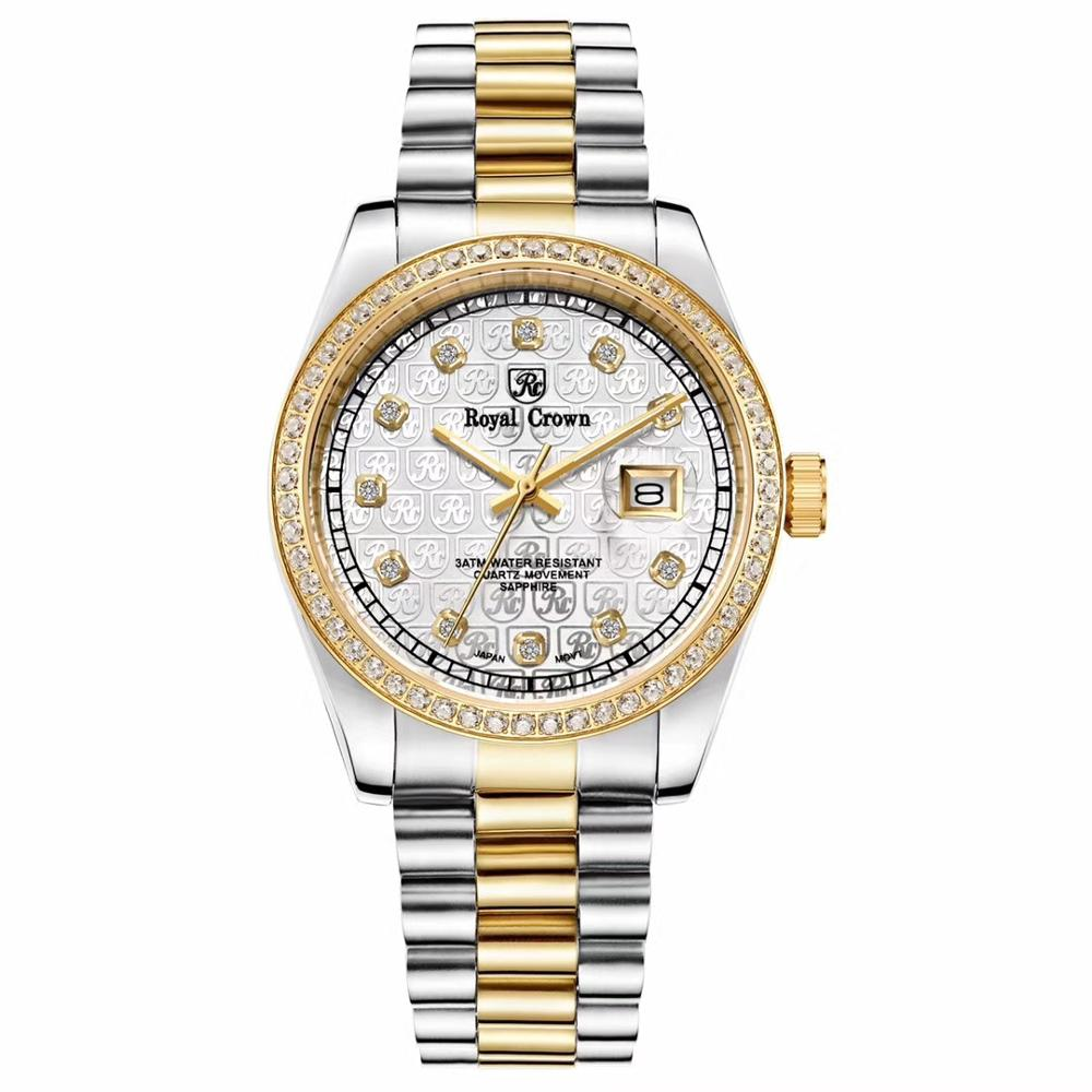 Claw-setting Men's Watch Women's Watch Fine Sapphire All Stainless Steel Bracelet Luxury Lovers' Clock Gift Royal Crown Box