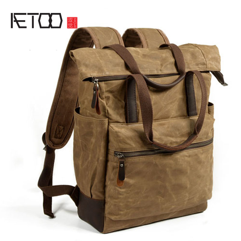 AETOO Men's waterproof oil wax canvas bag casual large capacity backpack retro fold mountaineering bag все цены