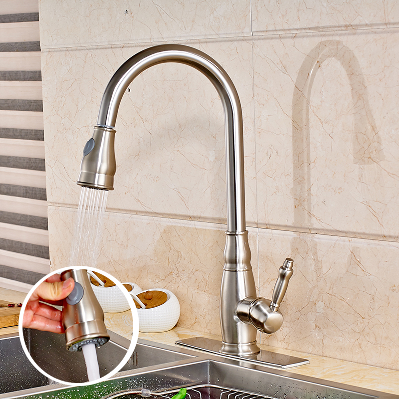 Deck Mount Kitchen Sink Faucet Swivel Spout Pull Down Mixer Tap with Cover Plate Nickel Brushed brushed nickel pull out down swivel 360 cover plate hose 923485720 deck kitchen sink faucet torneira cozinha faucets mixer tap