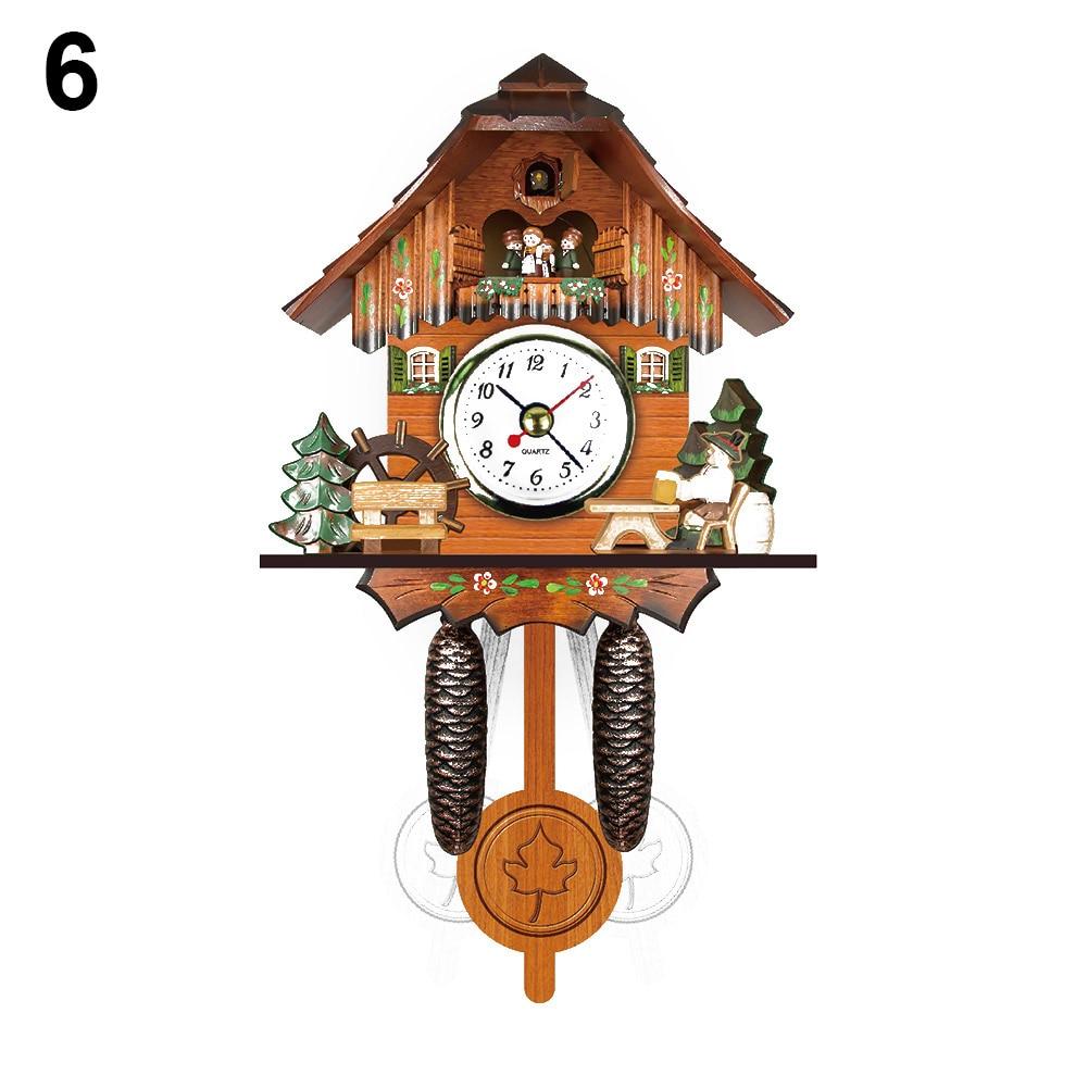 Antique Wooden Cuckoo Wall Clock Bird Time Bell Swing Alarm Watch Home Art Decor MAL999