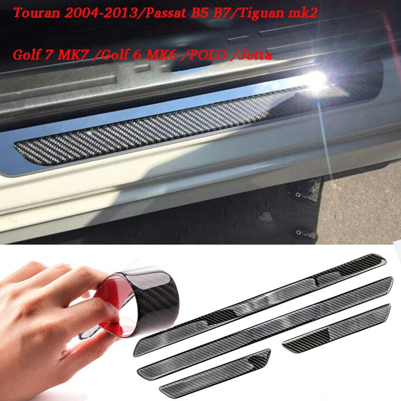 Door Sill Scuff Plate Guards Carbon Fiber Protector Stickers For VW Volkswagen Passat Touran Golf 7 Golf 6 POLO Jetta Tiguan автомобильный dvd плеер wincen android 4 1 dvd vw golf 5 6 passat jetta tiguan touran skoda octavia seat altea