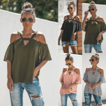 S-XL women new summer sexy strap v neck off shoulder top t shirt loose casual leisure chiffon tops