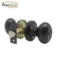 Probrico Egg Shape Door Locks Black Oval Door Knobs Keyless Locks For Bathroom Toliet Children's room Zinc Alloy Hardware Modern