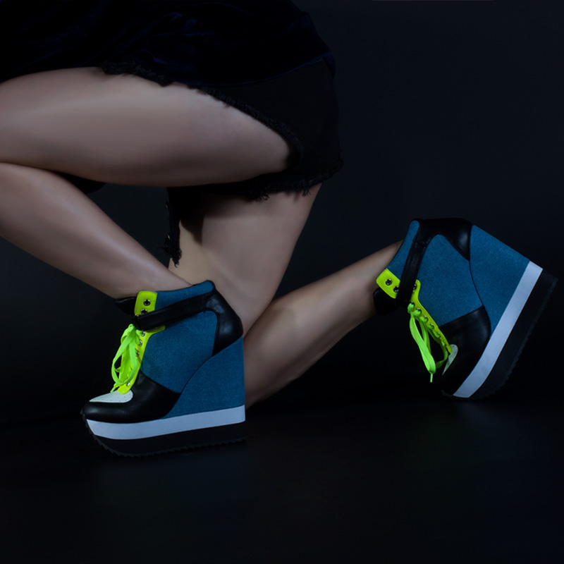 Pink Palms Casual Pumps Women Shoes High Heels Wedge Shoes Lace Up and Ankle Strap Height Increase Women Sneakers Shoes