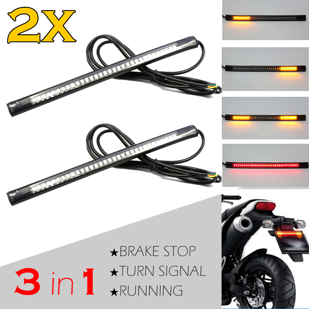 Motorcycle Flexible Strip Led Tail Brake Stop Turn Signal Direction Indicator License Plate Lights For Suzuki Hayabusa GSXR1300