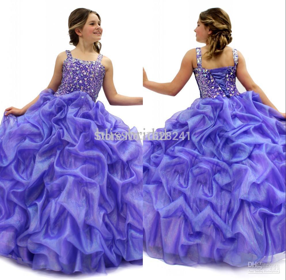 Nifty cheap christmas dresses for girls - Senior Custom Straps Ball Gown Flower Girl Dresses Sleeveless Floor Length Organza Ruffles Crystal Beaded Glitz