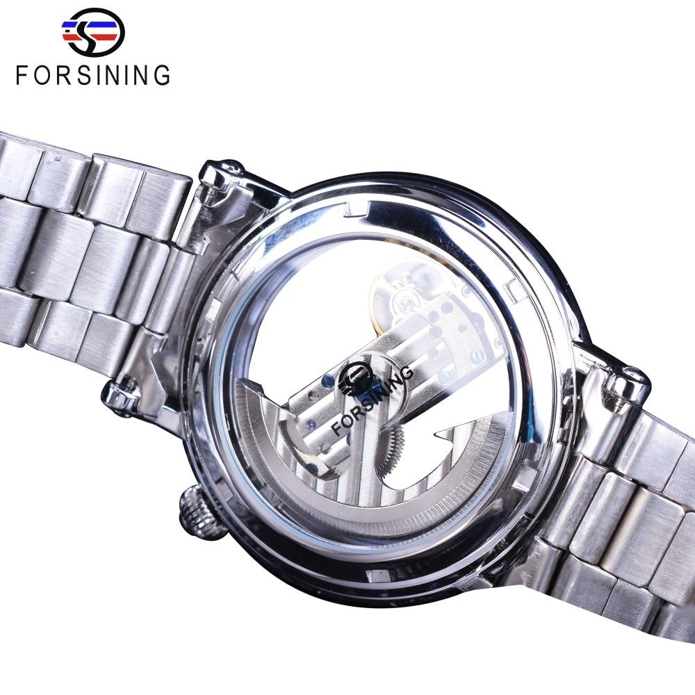 Forsining Double Side Transparent Tourbillion Silver Case Mechanical Steampunk Men's Skeleton Clock Creative Mechanical Watch