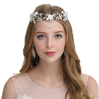 Fashion Forehead Jewelry Flower Pearl Rhinestone Headband Crystal Wedding Hair Accessories Tiara Crown Bridal Hairband Headpiece