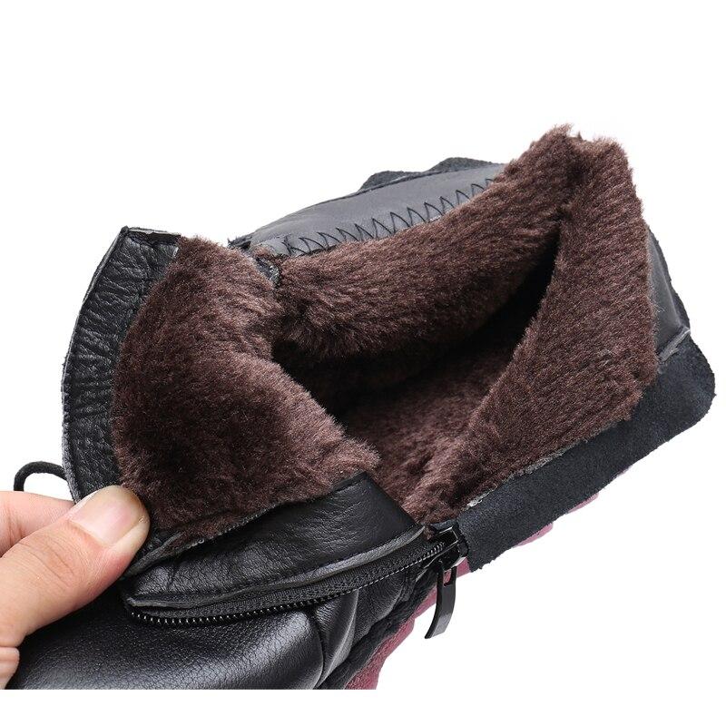 41 Cuero brown Para Nacional Informales Mujer Suela Mano Botas Negro Retro De Estilo Mujer Suave Hechas Cálidos A Zapatos Madre Rushiman Terciopelo 35 n0xWwWzIRA
