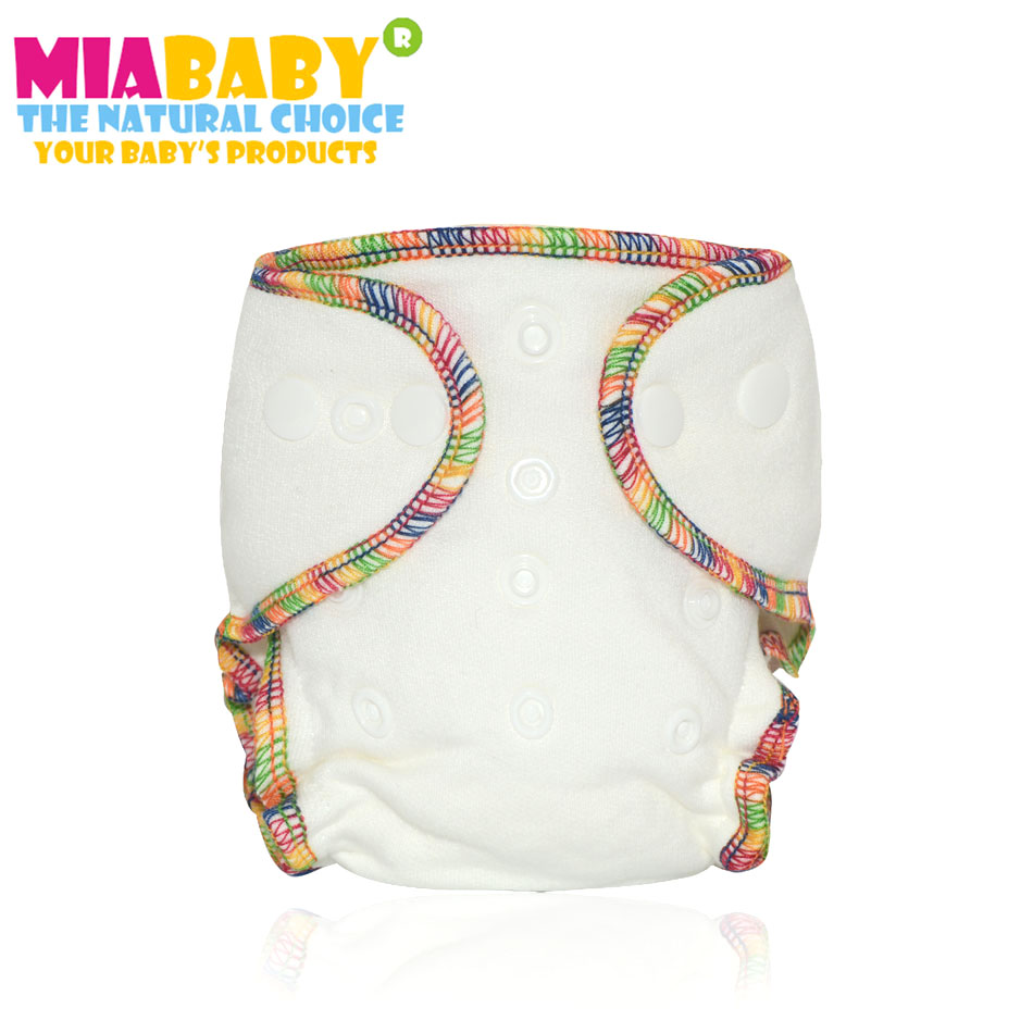 Miababy Newborn bamboo cotton fitted cloth diaper, fit babies from 3-7kgs,needs to wear a diaper cover