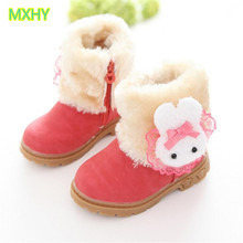 MXHY Princess Boots Children Shoes New Winter Plush Warm Bow Cute Rabbit Girls Snow Boots Kids Soft Baby Girls Shoes Size 21-30