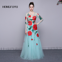 100 Real Photo Scoop Neck Long Sleeves Tulle A Line Long Prom Dresses 2016 Elegant Flowers