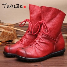 New autumn and winter leather anti-skid womens boots folk style retro warm flat mom short big size 35-42