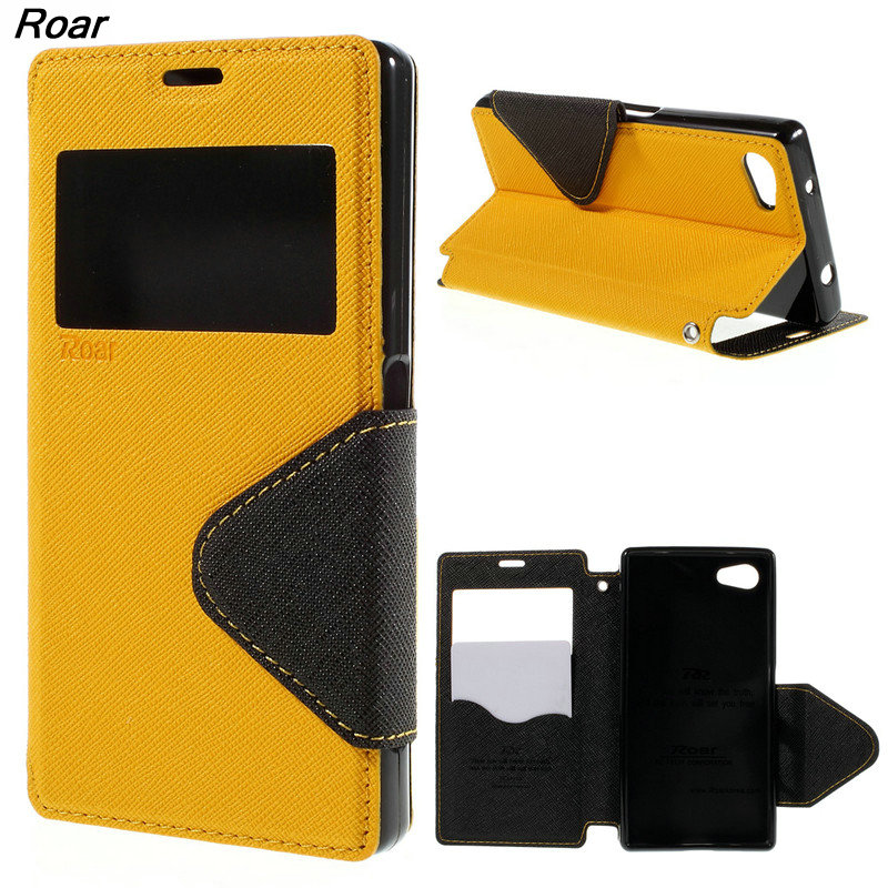 For Sony Z5 Compact Case Roar Korea Fancy Diary View Window Magnetic Leather Stand Phone Cover Case For Sony Xperia Z5 Compact