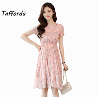 Tafforda 2018 Spring Summer New Printing Casual Style Dress Sweet O Neck Floral High Waist Large