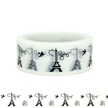20pcs/set Creative DIY of The Same Type Black-and-white Iron Tower Washi Tape Printed Waship Paper Sticker for Children