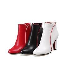 Solid Zipper High Heels Boots for Women