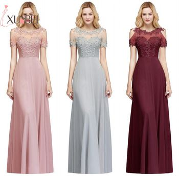 Robe demoiselle d'honneur Sexy Illusion Lace Bridesmaid Dresses Long Robe A Line Chiffon Pears Prom Dresses Formal Party Gowns