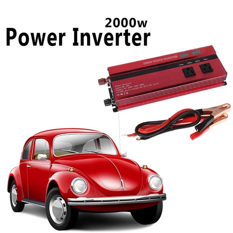 2000W WATT Peak Car LED Power Inverter DC 24V To AC 110V Dual Converter Charger