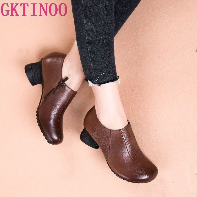 GKTINOO 2019 Retro Style Handmade Shoes Women Thick With Heels Pumps Round Toe High Heels Genuine
