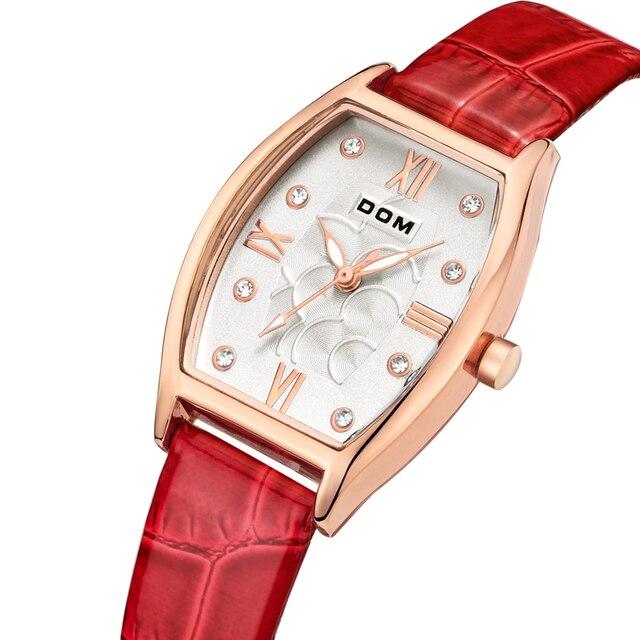DOM Luxury Women Quartz Waterproof Watch Montre Femme De Marque Fashion Casual Elojes Luxury Leather Rose Gold Watches Woman