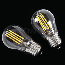 Super brillante Retro G45 A60 C35 LED 24W 18W 12W 6W regulable filamento bombilla E27 E14 COB 220V vidrio cáscara Estilo Vintage lámpara(China)