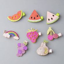 2019 New Lovely Fruit hair clips toddlers hairpin Cute kids Barrettes Strawberry hairpin Rainbow headband Hair Accessories A9(China)