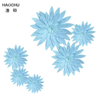 HAOCHU 6pcs Blue Paper Flowers Diy Photography Backdrops Wedding Supplies Birthday Party Decorations Home Background Craft