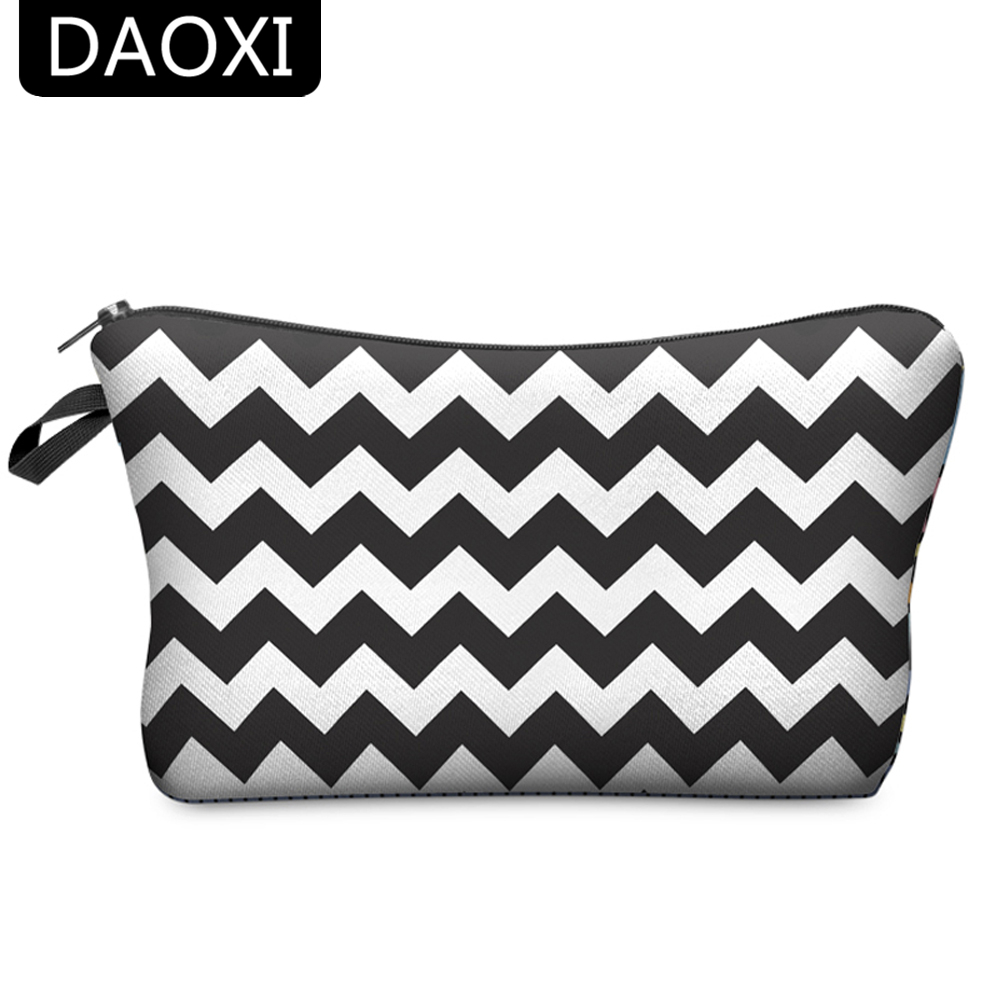 DAOXI Cosmetic Bag 3D Printing Zig Zag Pattern Necessaries for Women Makeup Travelling