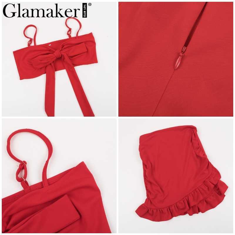 Гламурное платье с красными блестками, плиссированные юбки для женщин, сексуальное платье с v-образным вырезом, вечерние пляжное платье Летний галстук-бабочка облегающее короткое платье женское платье