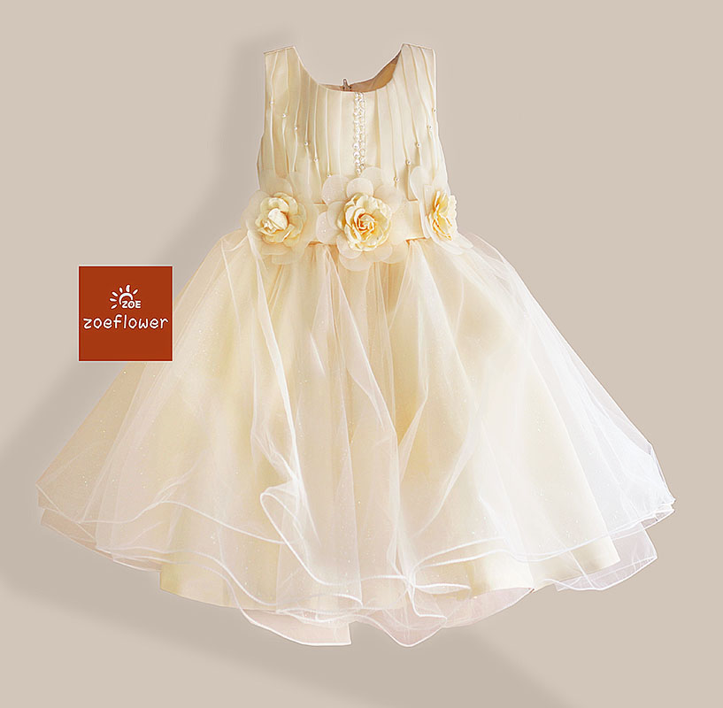 Christmas Style Girl Dress 3 Flowers Wedding kids Dresses for Girls Party Drsses Pearl Sequined Sleeveless Princess 3-8Y